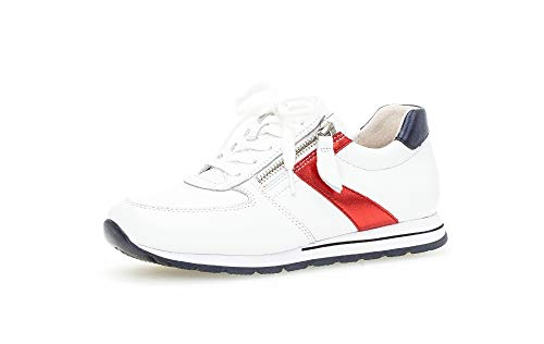 Gabor Damen Sneaker, Frauen Low-Top Sneaker,Comfort-Mehrweite,Optifit- Wechselfußbett, leger Halbschuh schnürer,Weiss/Pazifik/Ross,40 EU / 6.5 UK