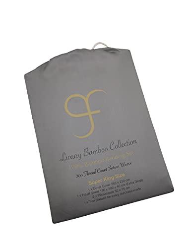 GF Juego de ropa de cama 100% bambú orgánico 300tc lujoso satén tejido funda de edredón, extra profundo 40 cm, 2 fundas de almohada