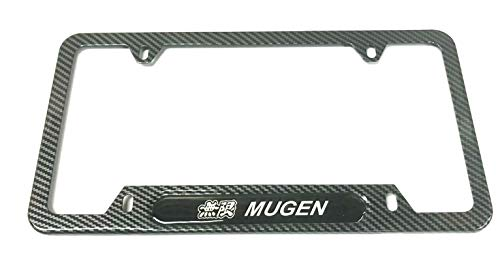 Mesport Carbon Fiber Style Stainless Steel Rust Free Mugen Civic License Plate Cover Frames Holder with ScrewsCaps (1)