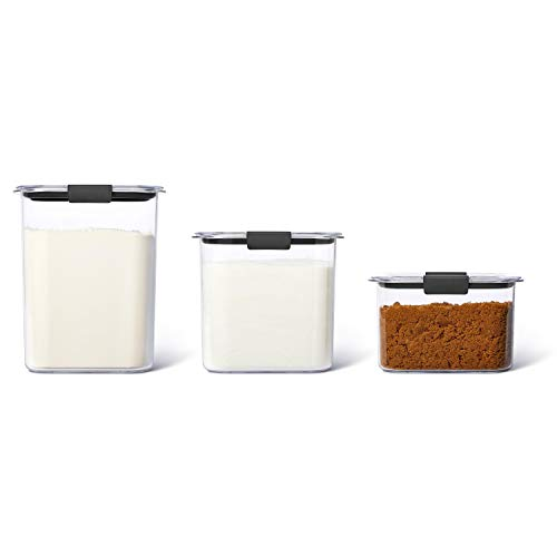 Rubbermaid Brilliance Plastic Food Storage Pantry Baking Set of 3 Containers with Lids (6 Pieces Total), Dishwasher Safe, BPA-Free