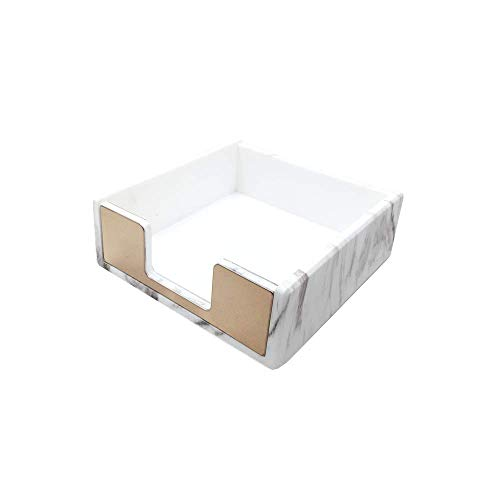 Marble Print Memo Holders Gold Self Stick Notes Cube Dispenser 5mm Super Thick Notepad Cards Holder Case 3.5x3.3 Inch for Office Home School Desk Organizers (Gold Tone)