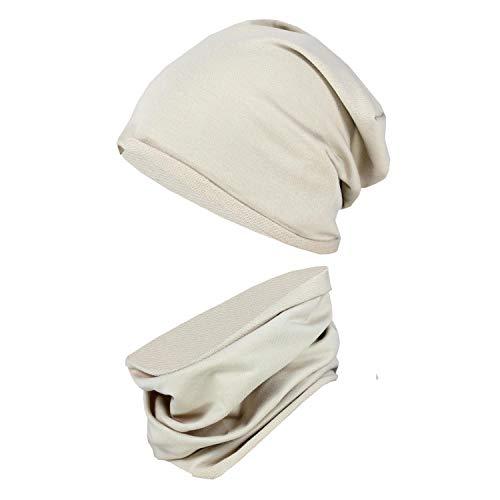 TupTam Kinder Beanie Mütze Schlauchschal Set Übergangszeit, Farbe: Beige, Größe: 52-54
