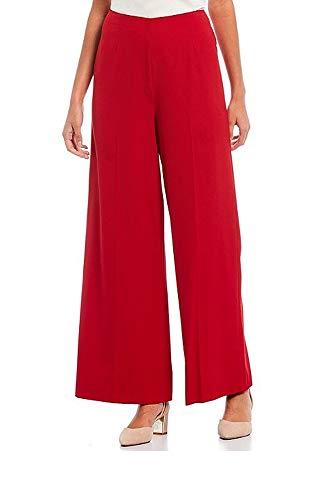 Alex Marie Women's Amelia Stretch Crepe Wide Leg Suiting Pants, Crimson, Size 12