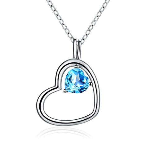 YXDEW Luck Pendant Chain Necklace Natural Topaz Double Heart Necklace S925 Sterling Silver For Girlfriend For Women Wife Birthday Gift For Girl Love Heart Pendant Necklace for Women honored