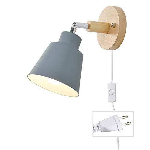 MBWLKJ - Lámpara de pared con cable para enchufe, color gris E27 de madera, con interruptor, moderna lámpara de lectura, lámpara de pared, foco interior con interruptor para salón o dormitorio