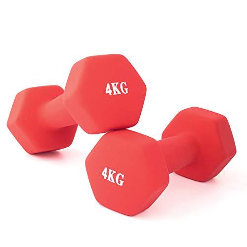 ダンベル 2個セット 美ボディ 4kg エアロビクス 自宅トレーニング 腕力訓練 上腕二頭筋トレーニング ソフトゴムで鉄アレイを包み 工場直営(赤)