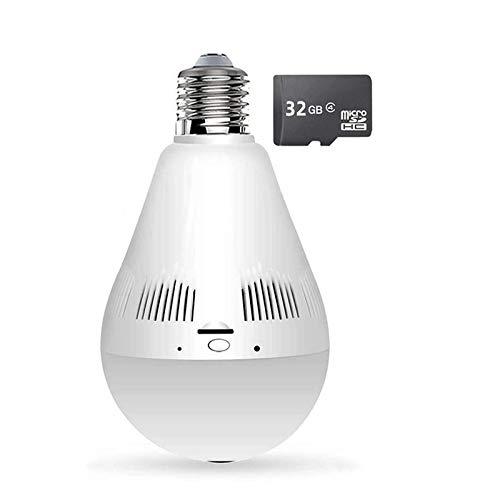 HLSH Cámara De Bombilla, Lámpara De 1080p Fisheye Wireless 360 Panorámica WiFi IP Cámara, Versión Nocturna CCTV Vigilancia(Size:Camera+32G)