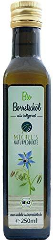 Bio Borretschöl Flasche 250ml mühlenfrisch kaltgepresst aus 1. Pressung, natives Öl 100% naturrein