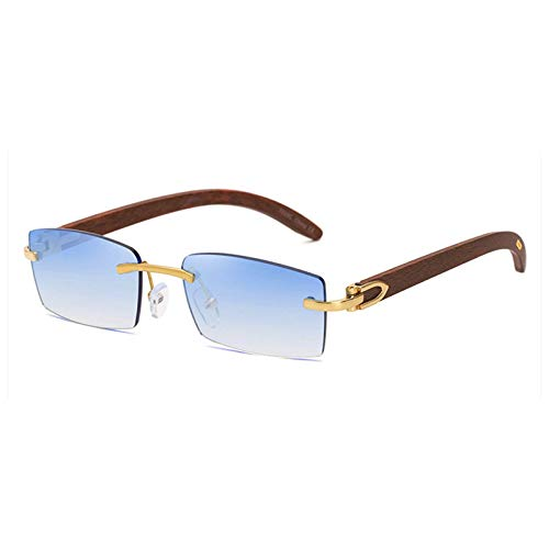 SHEEN KELLY Gafas de sol rectangulares retro para hombres y mujeres Gafas de sol con montura ultrapequeña Gafas de sol sin montura Gafas de sol con montura de madera natural