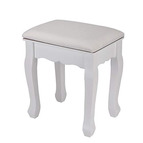 YORKING Weißer Schminktisch Schminktisch Holzhocker Fußschemel Klavierhocker Weißer Schminktisch gepolsterter Stuhl