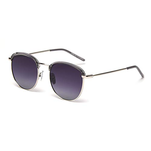 HDSJJD Damas Hombres Medio Marco Gafas De Sol Polarizadas Retro Classic Classic Color Redondo Color Deportes Gafas De Conducción UV400,B