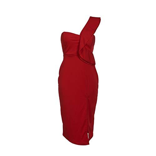 zysymx Vestido Formal de Corte con Volantes de un Solo Hombro para Mujer Vestido de Noche Conjunto de Boda Vestido Ajustado de Hip-Hop Ropa de Mujer 酒红 XL