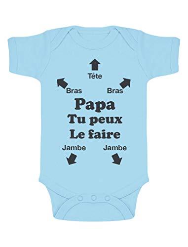 Green Turtle T-Shirts Body bébé Notice pour Papa Body Papa Tu Peux Le Faire Futur Papa 2022 Cadeau Papa Naissance 6-9 Mois Bleu Ciel