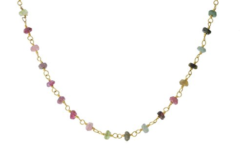 Gold-Tone Sterling Silver Wire Natural Multicolored Tourmaline Gemstone Bead Chain Stone Link Handmade Rosary Necklace 18 Inches