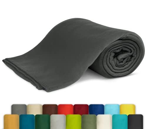 KiGATEX Polar-Fleecedecke in vielen Farben 130x160 cm leicht zu pflegen für Innen oder Außen (grau)