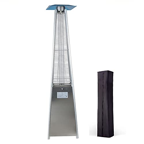 LuxuryHeaters Pyramid Patio Heater Freestanding Portable Outdoor Pyramid Gas Patio Heater with Glass Tube 13KW Power Silver Suitable for Garden Restaurants Bars Villa Courtyards
