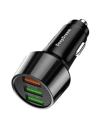 DeepDream Caricabatteria Auto USB con 3 Porte, Quick Charge 3.0 30W Carica Rapida Caricatore Adattatore da Auto per iPhone, iPad, Samsung Galaxy, Huaw