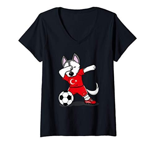 Mujer Dabbing Husky Fútbol de Turquía - Bandera turca Camiseta Cuello V