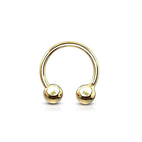 Paula & Fritz® Piercing-Ring Ohr-Piercings Hufeisen 14 Karat Echt-gold Gelbgold Helix Nostril Lippe Nase Brust Septum Chirurgenstahl Kugel-n 1,2-mm 8-mm