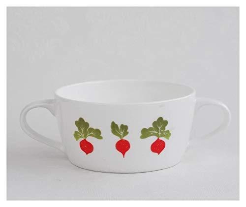 XUEXIU Porcelana Premium Las Orejas De Cerámica Soup Bowl Desayuno Cuenco Taza De Sopa Inicio Plato De Arroz Occidental Postre Ensaladera Sopa De Niños Tazón for Catering and Home (Color : A)