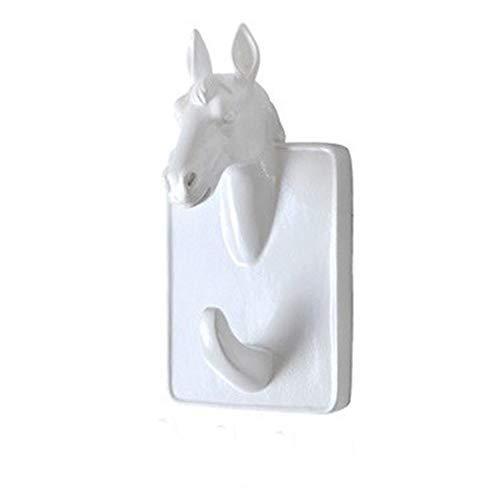 White Wall Kapstok Muur Van Het Huis Dierenkop Rack, 3D Stereo Animal Kapstok, Thuis Wanddecoratie (Color : Horse)