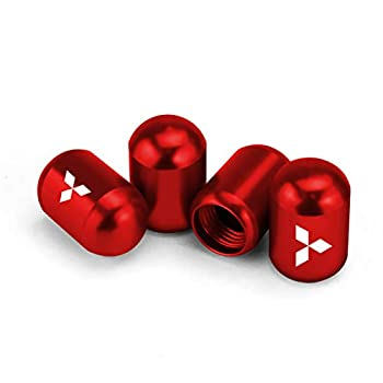 Tire Valve Stem Caps Fit for Mitsubishi Outlander Lancer Pajero Sport Evo Accessories Air Valve Stem Covers for Car Truck SUV Motorcycle Wheel Accessories 4 Pcs Red