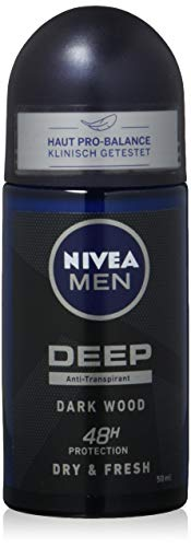 Nivea Men Roll-On Deep Dark Wood Dry + Fresh, 160 g