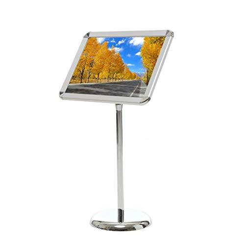 Loywe Infoständer Plakatständer DIN A3 Rondo für Plakate mit 420x300 mm, Ständer aus Metall Höhe Verstellbar Infohalter für Querformat Präsentationsständer Werbeständer drehbar schwenkbar Silber Design LW3520