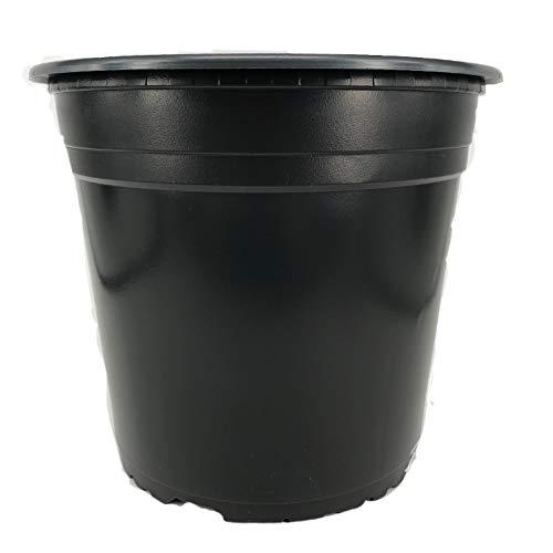Nutley's 50 vasi per Piante Rotondi, 22 cm, in plastica, 5 Litri, Nero, 22x22x68 cm