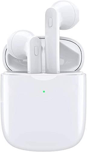 Bluetooth Kopfhörer, Qooker Kabellos In Ear Ohrhörer mit Kräftigem Bass, Bluetooth 5.0 True Wireless Headset HiFi Stereo Sound mit Mikrofon und 40H Spielzeit IPX7 Sport Ohrhörer (Weiß)