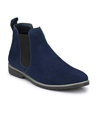 FENTACIA Men Synthetic Suede Chelsea Boots Blue