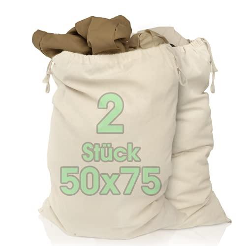 Bolsa de lavandería, 2 juegos, 50 x 75 cm, hecha de 100% algodón, bolsa de lavandería extra grande para trabajo pesado, duradera, recolector de ropa de viaje, caja de lavandería reutilizable