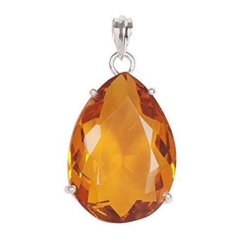 GEMHUB Piedra preciosa preciosa de citrino amarillo de corte de pera de 9,71 gramos, hecha a mano en plata de ley 925.