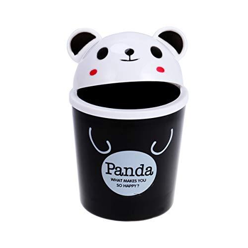 Toddmomy Mini Desktop Mülleimer Cartoon Panda Papierkorb Tiere Müll Vorratsbehälter Mini Müll Veranstalter Papierkorb Stifthalter für Auto Home Office (Schwarz)