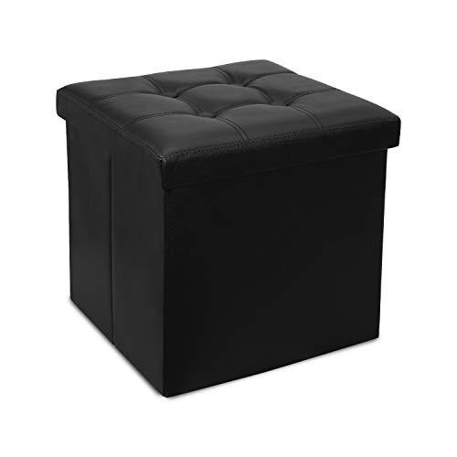 Hengda Sitzbank mit Stauraum, Sitzhocker, Sitztruhe, faltbar, PVC Aufbewahrungsbox, Fußablage, (38x38x38cm, Schwarz)