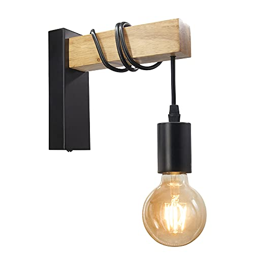 BYX Loft Style Lámpara moderna E27 Apliques de pared Luminaria para iluminación interior Pasillo Mesita de noche Soporte de lámpara de sala de estudio montado en la pared de metal