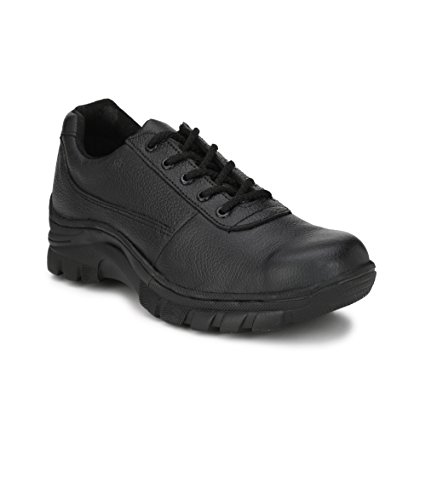 Peter John Leather's pj_093_black_9 Industrial Steel Toe Safety Shoes for Men, Size 9 (Black)