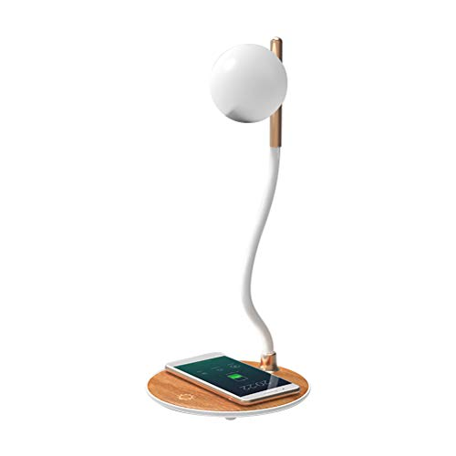 Desk Lamp, Wireless Charging Desk Light, Lights with Touch Control 360° Flexible Rotation Night Lamp USB Type-C Charging Night Light for Living Room and Bedroom