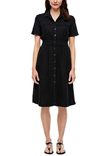 s.Oliver Damen Leinenmix-Kleid mit Knopfleiste Black 38