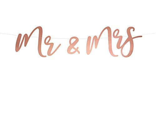 DaLoKu Mr & Mrs Hochzeit Girlande Banner Wedding Dekoration rosa weiß Rosegold, Farbe: Rosegold 16.5x68cm