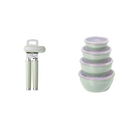 KitchenAid Classic Multifunction Can Opener, One Size, Pistachio & Prep Bowls with Lids, Set of 4, Pistachio