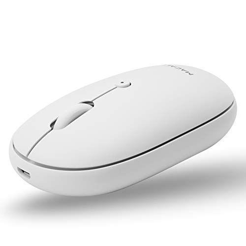Macally Wireless Bluetooth Mouse Rechargeable - Simple Workspace Necessity - Quiet Click Buttons and 300mAh Battery (Up to 3 Months) - Silent Wireless Mouse for Mac |PC|iOS|Android - DPI 800/1200/1600