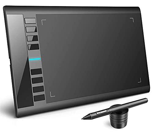 Xyfw Tableta De Dibujo De Gráficos Digitales 10 X 6 Pulgadas 8192 Niveles De Presión Lápiz Óptico Sin Batería con 8 Teclas De Acceso Rápido para Dibujar