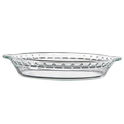 Skelang - Plato para horno con mango de cristal, 25 × 20 × 4,7 cm, plato redondo de cristal transparente para tarta de manzanas