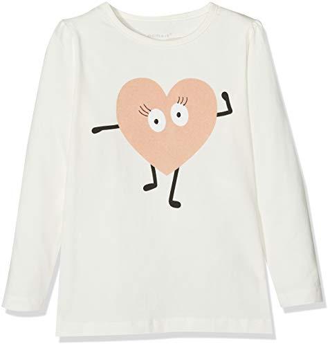 Name It Nmfoldina Ls Top T- T-Shirt À Manches Longues, Blanc (Snow White), 92 Bébé Fille