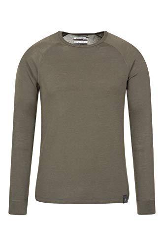 Mountain Warehouse Merino Langarm Baselayer-Thermotop für Herren - Leichtes T-Shirt, warm, antibakteriell, schnelltrocknend - Ideal bei kaltem Wetter Winter Baselayer Khaki M