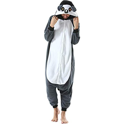 HQ-PJS Adultos Pijamas Franela Manga Larga Unisex Animal Señoras De La Novedad Lemur Hombres De Calentamiento Animado Dibujos Animados Pijamas De Una Pieza Pares Rendimiento del Partido
