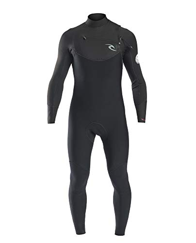 RIP CURL WSM7CM Dawn Patrol Men,4/3 mm Steamer Chest Zip, Neoprenanzug, Thermolining, Pecho con Cremallera,Black,XS/170cm