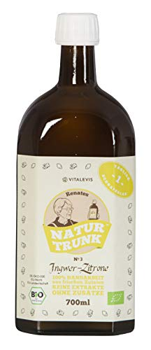 OHNE Konservierungsstoffe! Renates NaturTrunk N° 3 Zitrone + Ingwer 700ml Glasflasche, Eine Flasche = 28 Zitrone + Ingwer-Shots. DE-ÖKO-006