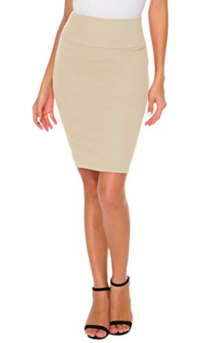 Afibi Pencil Skirts for Women Casual Skirt Scuba Streychy Solid Color Bodycon Skirts (X-Large, Apricot)